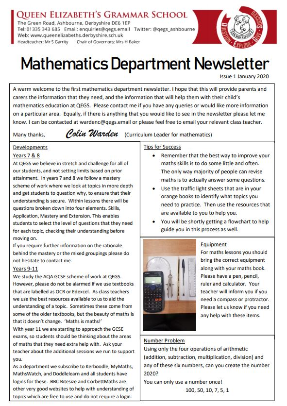 Maths Newsletter – Issue One